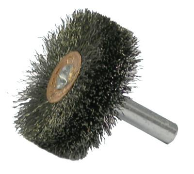 Weiler® Stem-Mounted Wide Conflex Brush, 1 1/2 in D x 1/2 W, .008 Steel Wire, 20,000 rpm, 17603