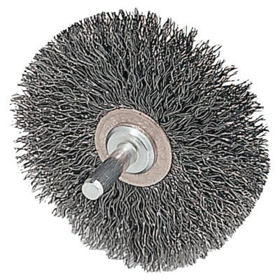 Weiler® Stem-Mounted Narrow Conflex Brush, 2 1/2 in D x 3/8 W, .006 in Steel, 20,000 rpm, 17612