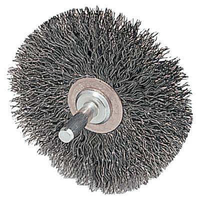 Weiler® Stem-Mounted Narrow Conflex Brush, 2 D x 3/8 W, .0118 Stainless, 20,000 rpm, 17611