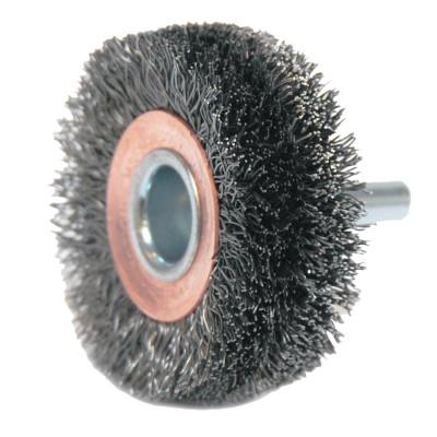 Weiler® Stem-Mounted Wide Conflex Brush, 2 in D x 3/4 in W, .0118 in Steel, 20,000 rpm, 17619