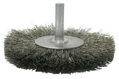 Weiler® Crimped Wire Radial Wheel Brush, 3 in D, .008 Steel Wire, 17964