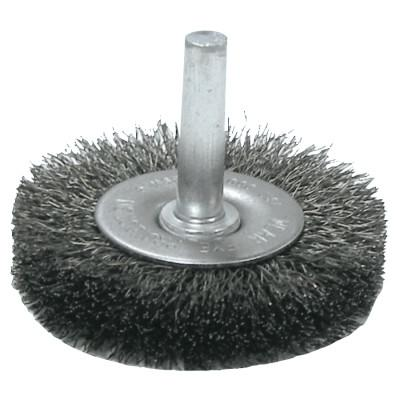 Weiler® Crimped Wire Radial Wheel Brush, 3 in D x 1/2 in W, .014 Steel Wire, 20,000 rpm, 17966