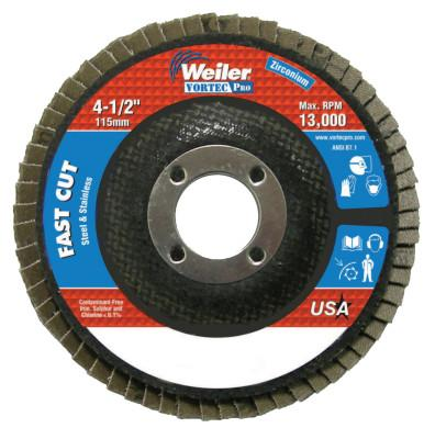 "Weiler® 4-1/2"" x 7/8"", Abrasive Flap Disc, Flat, Phenolic Backing, 36Z, 31401"
