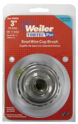 Weiler® Vortec Pro Knot Wire Cup Brush, 3 in Dia., 5/8-11 Arbor, .02 Wire, Display Pack, 36038