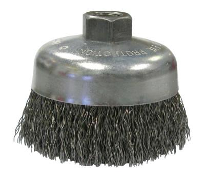 Weiler® Vortec Pro Knot Wire Cup Brush, 5 in Dia., 5/8-11 Arbor, .023 in Carbon Steel, 36070