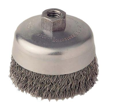 "Weiler® Vortec Pro Crimped Wire Cup Brush, 5"" Dia, 5/8-11 Arbor, 0.02"" Carbon Steel, 36261"