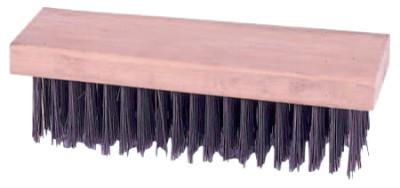 "Weiler® Block Type Scratch Brushes, 7 1/4"", 6X19 Rows, Round Steel Wire, Wood Handle, 44067"