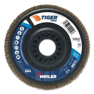 Weiler® Trimmable Tiger Flap Discs, 4 1/2 in, 40 Grit, 7/8 in Arbor, 13,000 rpm, 50002