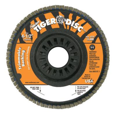 Weiler® Trimmable Tiger Flap Discs, 4 1/2 in, 80 Grit, 7/8 in Arbor, 13,000 rpm, 50004
