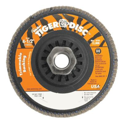 Weiler® Trimmable Tiger Flap Discs, 4 1/2 in, 40 Grit, 5/8 Arbor, 13,000 rpm, 50006