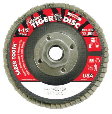 Weiler® Saber Tooth Ceramic Flap Discs, 4 1/2 in, 36 Grit, 5/8 Arbor, 13,000 rpm, 50104