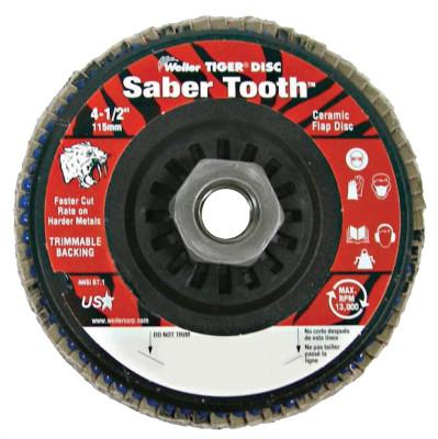 "Weiler® Saber Tooth Trimmable Ceramic Flap Discs, 4 1/2"", 80 Grit, 5/8 Arbor, 13,000 rpm, 50123"