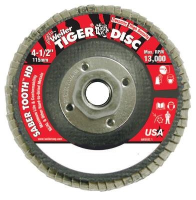 Weiler® Saber Tooth Abrasive Flap Discs, Ceramic, 4 1/2 in Dia. x 5/8 in, 60 Grit, 50134