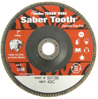 Weiler® Saber Tooth Abrasive Flap Discs, Ceramic, 7 in Dia. x 7/8 in, 40 Grit, 50136
