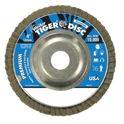Weiler® Tiger Disc Angled Style Flap Discs, 4 in, 40 Grit, 5/8 Arbor, Aluminum Back, 50503