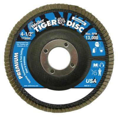 Weiler® Tiger Disc Angled Style Flap Discs, 4 1/2 in, 120 Grit, 7/8 Arbor, Phenolic Back, 50606