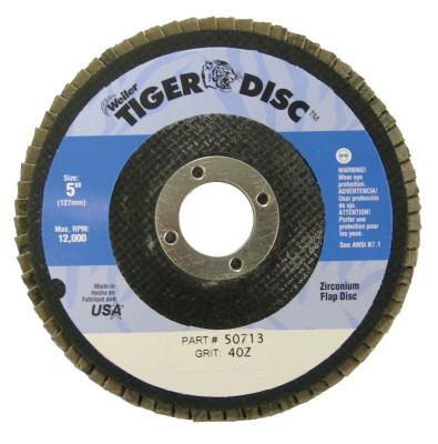 "Weiler® Tiger Disc Flat Style Flap Discs, 5"", 40 Grit, 7/8 Arbor, Phenolic Back, 50713"