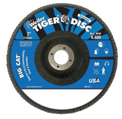 "Weiler® Big Cat High Density Flat Style Flap Discs, 7"", 80 Grit, 7/8 in Arbor, 8,600 rpm, 50825"