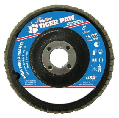 "Weiler® Type 29 Tiger Paw Angled Flap Discs, 4"", 60 Grit, 5/8 Arbor, 15,000 rpm, 51105"