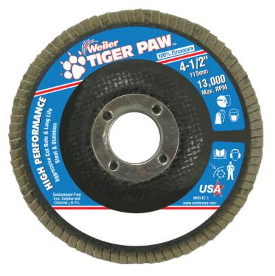 "Weiler® Type 29 Tiger Paw Angled Flap Discs, 4 1/2"", 40 Grit, 7/8 Arbor, 13,000 rpm, 51119"