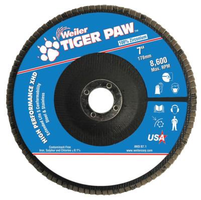 "Weiler® Tiger Paw Super High Density Flap Discs, 9"", 40 Grit, 7/8 Arbor, 8,600 rpm, 51170"