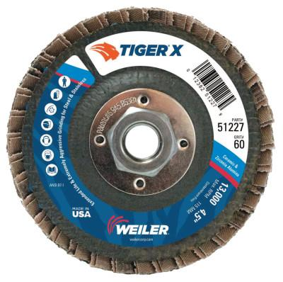 Weiler® TIGER X Flap Disc, 4 1/2 in Flat, 60 Grit, 5/8 in - 11 Arbor, 51227
