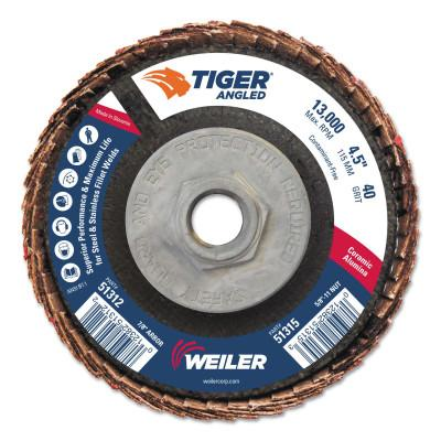 Weiler® Tiger Ceramic Angled Flap Discs, 5/8 in - 11, 40 Grit, 10 per Box, 51315
