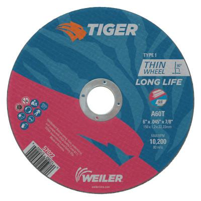 Weiler® Tiger Thin Cutting Wheels, 6 in Dia, .045 in Thick, 7/8 in Arbor, Grit 24, 57022