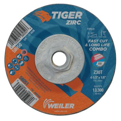Weiler® Tiger Zirc Combo Wheels, 4 1/2 in Dia, 1/8 in Thick, 5/8 in-11 Arbor, 58050