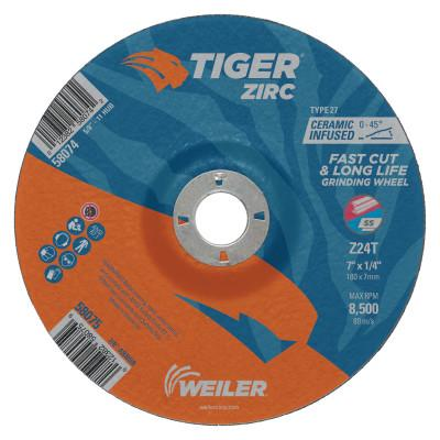 Weiler® Tiger Zirc Grinding Wheels, 7 in Dia, 1/4 in Thick, 7/8 in Arbor, 58075