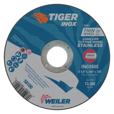 Weiler® Tiger Inox Thin Cutting Wheels, 4 1/2 in Dia, .045 in Thick, 7/8 in Arbor, 58100