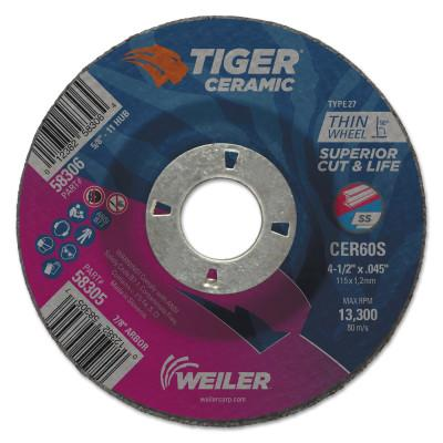 Weiler® Tiger Ceramic Cutting Wheels, 4.5in Dia, 0.045in Thick, 7/8 in Arbor, 24/bx, 58305