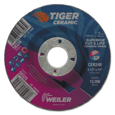 Weiler® Tiger Ceramic Grinding Wheels, 4.5 in Dia, 1/4 in Thick, 7/8 in Arbor,10/bx, 58325