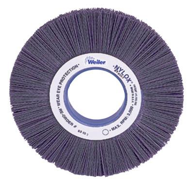 Weiler® Nylox® Crimped-Filament Wheel Brush, 6 in D x 1 in W, 3,600 rpm, 83010