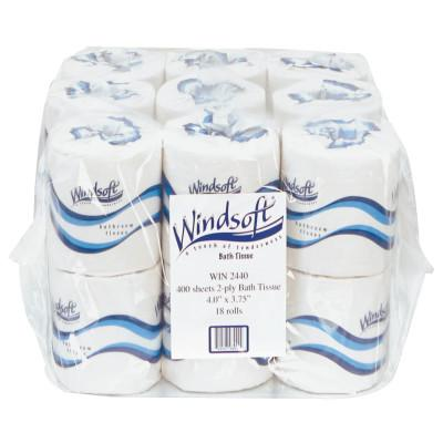Windsoft® Embossed Bath Tissue, 2-Ply, 400 Sheets/Roll, WIN2440