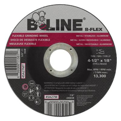 "B-Line Flexible Depressed Center Wheel, 4 1/2"" Dia, 1/8"" Thick, 7/8"" Arbor, 30 Grit, 90920"