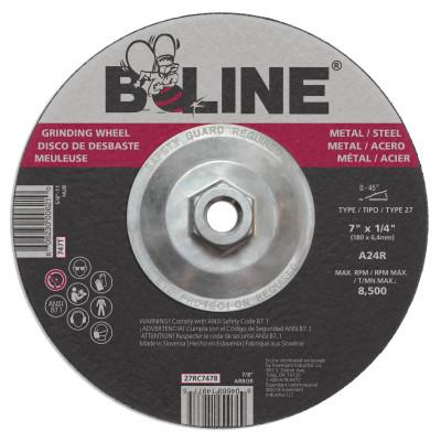 "B-Line Depressed Center Grinding Wheel, 7"" Dia, 1/4"" Thick, 5/8-11"" Arbor, 24 Grit, 90912"