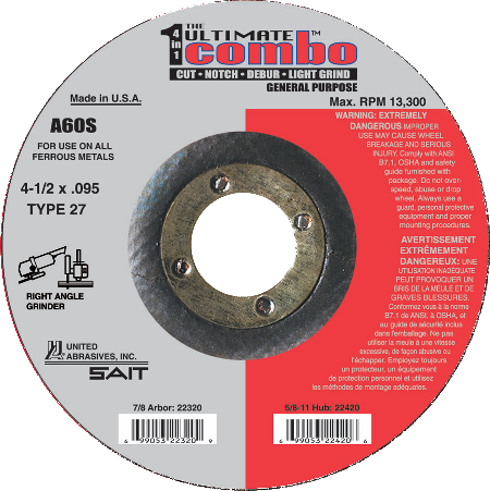 SAIT  A60S Type 27 .095 Angle Grinder Cutting Wheel - AMMC