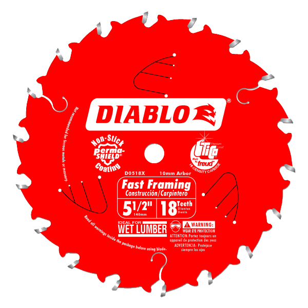 Diablo 5-1/2 in. x 18 Tooth Fast Framing Trim Saw Blade - AMMC