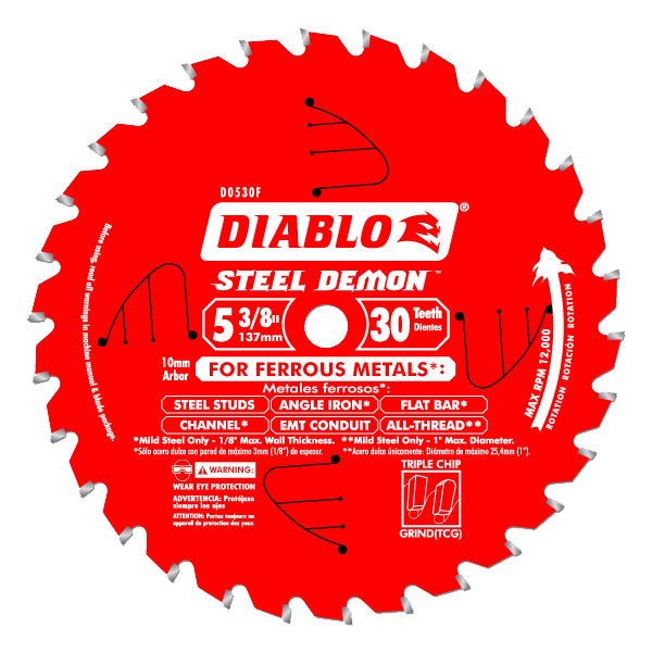 Diablo 5-3/8 in. x 30 Tooth Steel Demon Metal Cutting Saw Blade (10mm Arbor) - AMMC