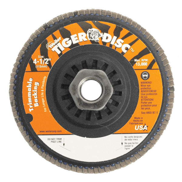 "Weiler 4-1/2"" Trimmable Tiger Flap Disc - AMMC"