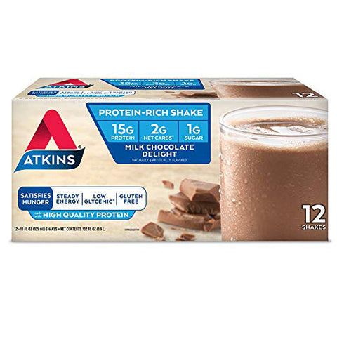 Atkins Ready to Drink Protein-Rich Shake - Milk Chocolate Delight - Gluten Free - 12 Count