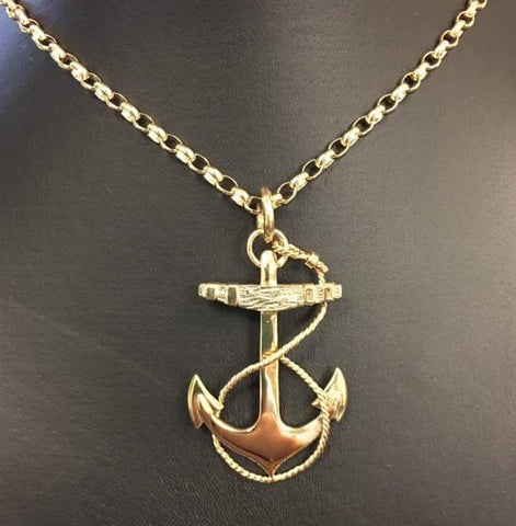 Gold Anchor Pendant by Black Matter Jewellery