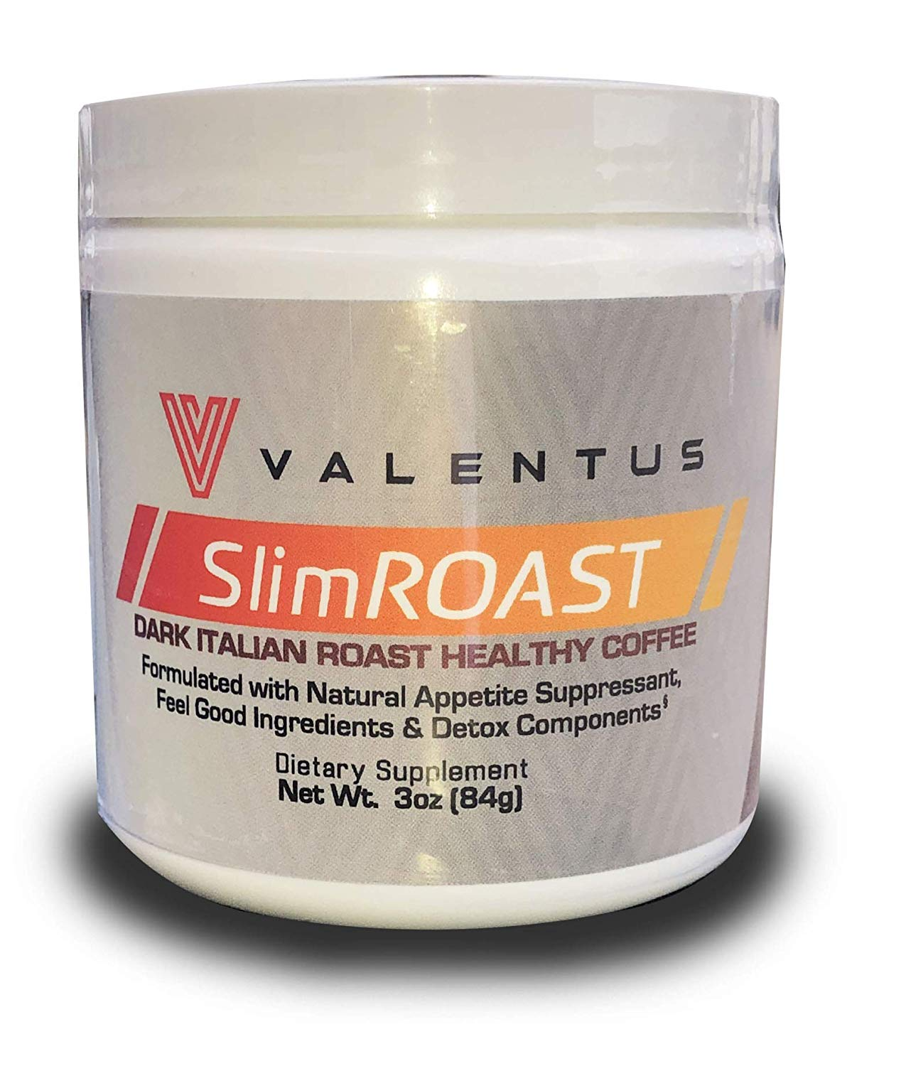 VALENTUS Slim Roast - Italian Dark Roast Coffee 3 Oz. Canister (24 Servings)