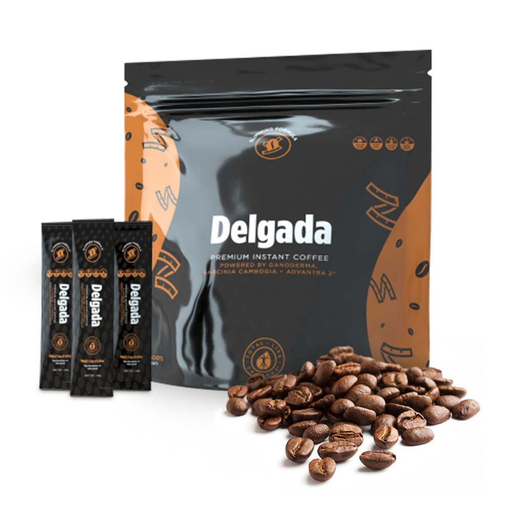 Iaso Cafe Delgada Red Reishi Mushroom Natural Coffee, 28 Sachets - 2.8 g Each - 10 Calories Per Cup