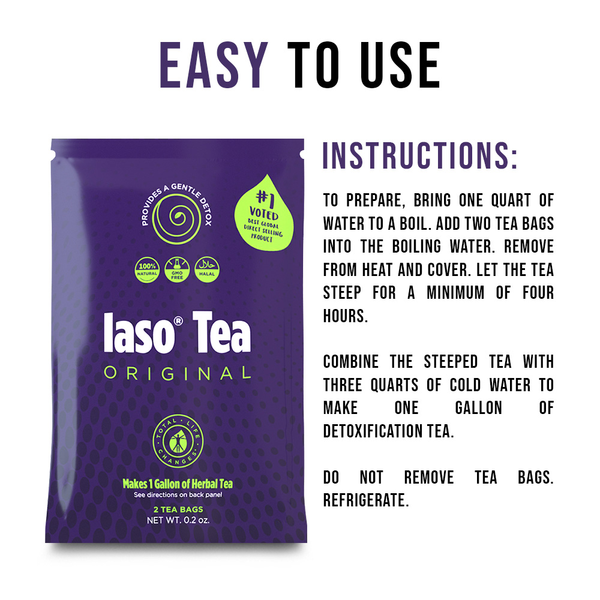 TLC Total Life Changes IASO Natural Herbal Detox Tea Bags - Single Pack (2 Tea Bags)