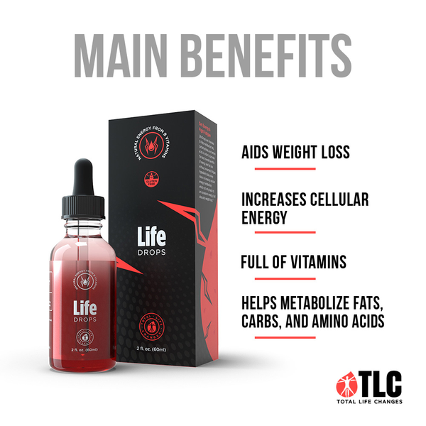 TLC IASO Life Drops Energy Booster: Cellular Metabolism Energy Supplement | Vitamin B12 Vitamin B5 | 2 Fl Oz | 60ml