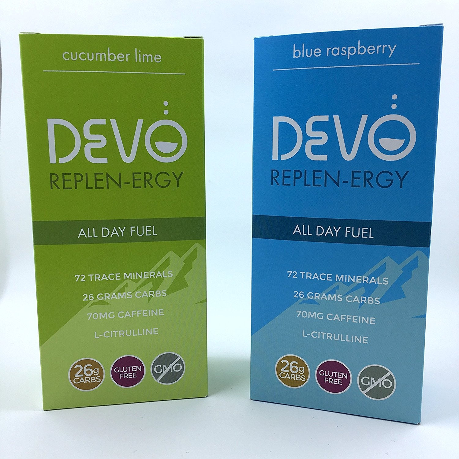 Combo Pack: Devo Replen-ergy : Blue Raspberry & Cucumber Lime - 7 single servings per box packets- energy - gluten free - no GMO - vegan - all natural