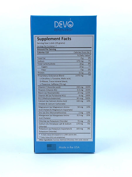 Devo Replen-ergy Blue Raspberry - 7 single servings packets- energy - gluten free - no GMO - vegan - all natural