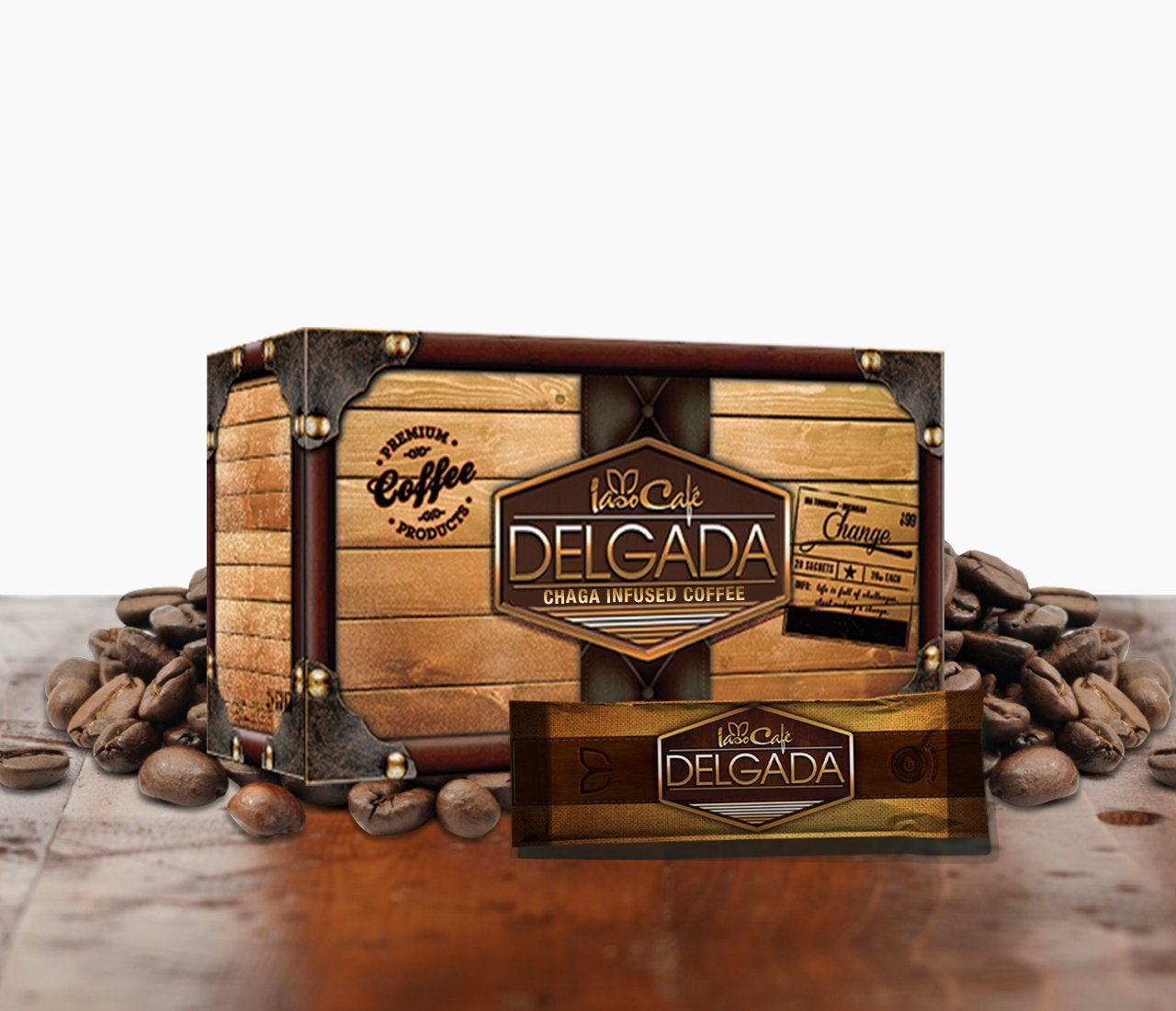 Delgada Coffee Infused with Chaga 20 Sachets per box